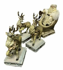 OFAK-Large-White-and-Gold-Santa-on-Swan-Sleigh-and-3-Reindeers-Christmas-Decor
