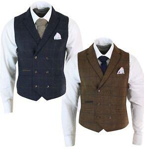 57532005d6c43 Image is loading Double-waistcoat-jacket-vintage-style-peaky-blinders-tweed-