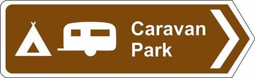Caravan camping motorhome park right directional sign