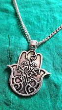 "Silver Hamsa Hand Lucky Evil Eye *karma* Pendant on Necklace 22"" Chain. (d13)"