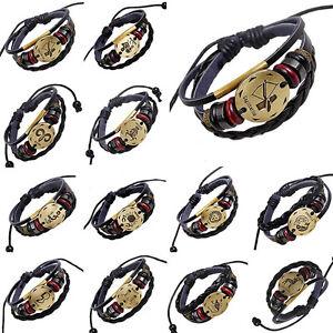 Mens-Leather-horoscope-zodiac-birth-sign-wristband-bracelet-wood-beads-and-charm