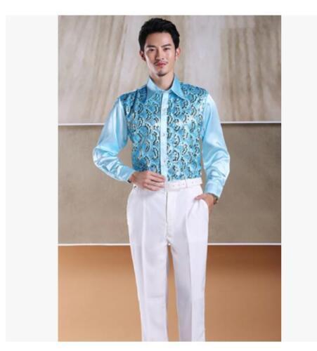 Hommes Fashion Latin Shirt Lapel Collar Stade Sequin Club Chemisier Danse Costume