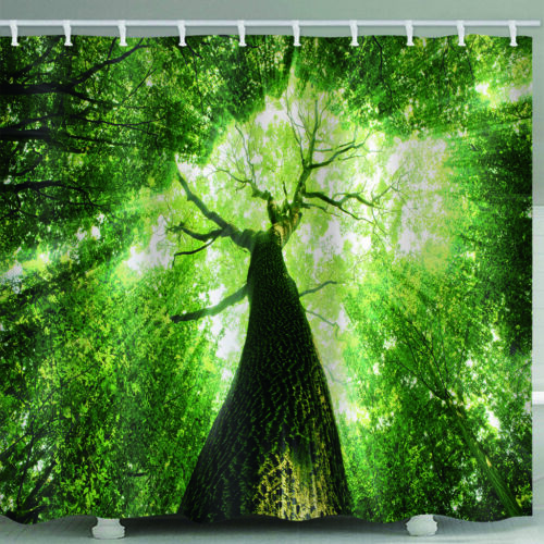 Psychedlic Forest Tree Shower Curtain With Hooks Waterproof Art Bath Room Decor
