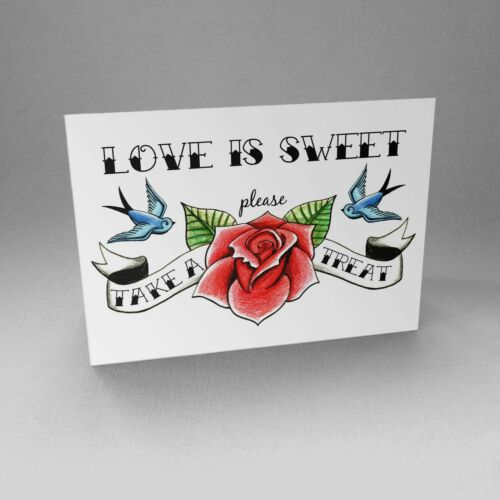 Love is Sweet Take a Treat Sign Rockabilly Tattoo Wedding Party Candy Table Bar