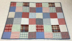 Patchwork Quilt Wall Hanging, Nine Patch, Red, Blue, White, Checks, Stripes