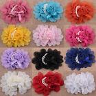 5/10/20pcs Big Satin Ribbon Rose Flower with pearls DIY Craft Wedding Applique