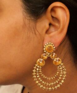 Image Is Loading Indian Designer Gold Jhumka Earrings Ethnic Bridal