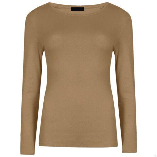 New Womens Long Sleeve Round Neck Plain Basic Ladies Stretch T-Shirt Top 8-26 rn
