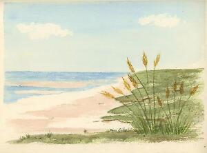 NAUTICAL-OCEAN-SAND-DUNES-SEA-GRASS-PRIMITIVE-NAIVE-FOLK-ART-VINTAGE-PAINTING