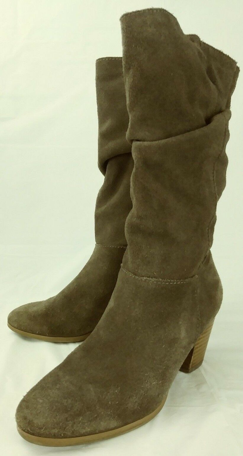 Crown Vintage Womens Boots Tall US 6.5 M Brown Suede Pull On Zip Slouchy  6042
