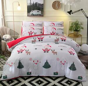 3D-Snowman-Tree-A168-Christmas-Quilt-Duvet-Cover-Xmas-Bed-Pillowcases-Zoe