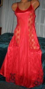 Red-Nylon-Gown-Front-Lace-Panels-M-L-Nightgowns-Sexy-Semi-Sheer