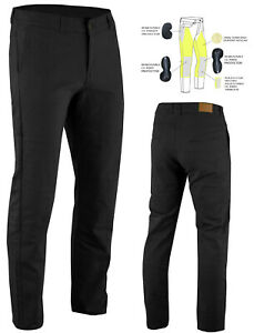 Men-039-s-Kevlar-Lined-Motorcycle-Chinos-Stretch-Jeans-Black-optional-CE-Armour