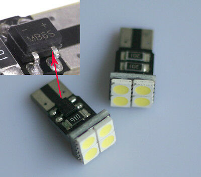 4x T10 4 5050 Chip SMD Canbus No Errors LED Dome Light White 12V DC