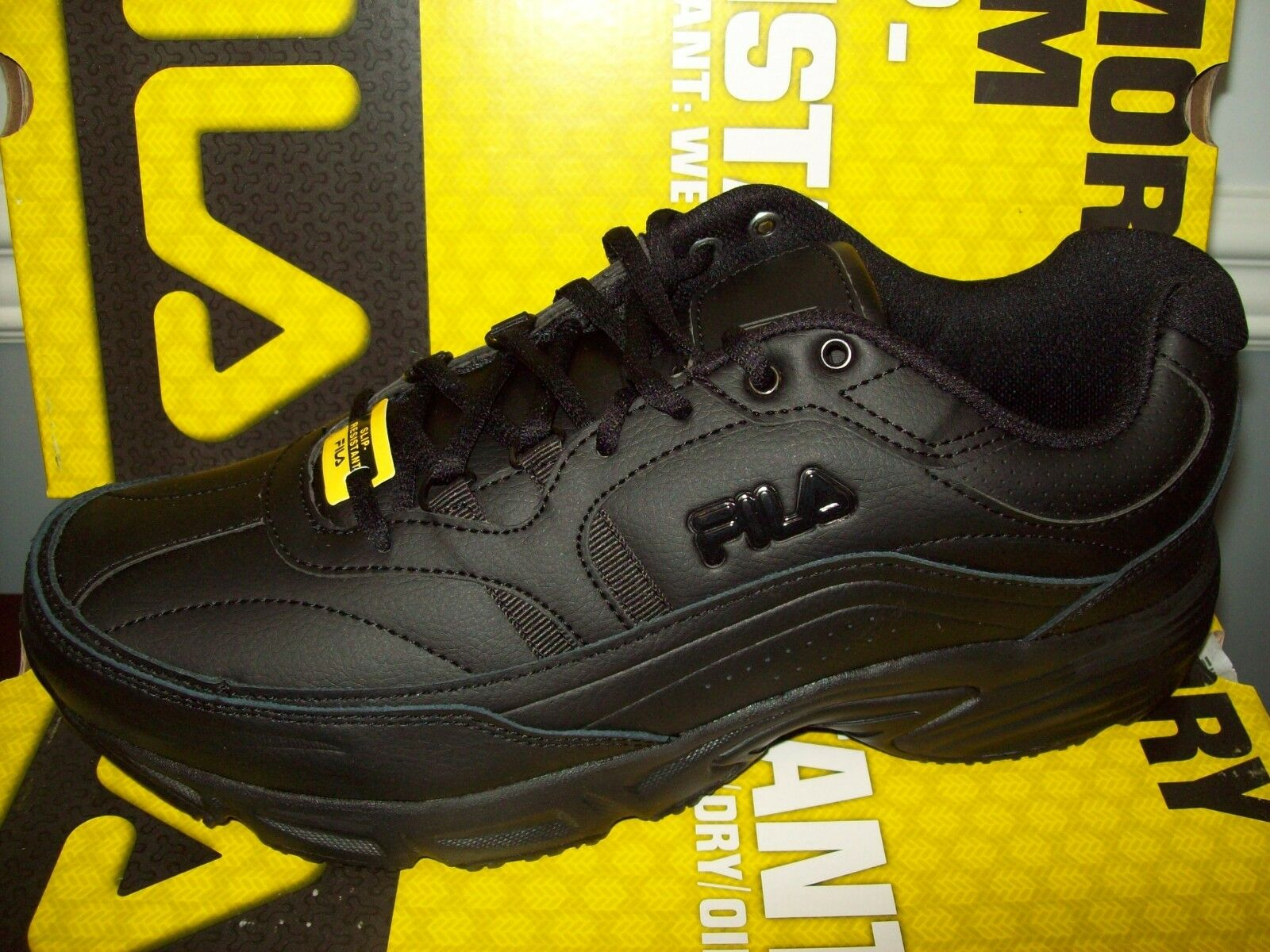 Fila Men's Memory Workshift Slip-Resistant Sneaker #ISG30002-001 All Black Med Cheap and beautiful fashion