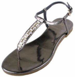 Cole Haan Effie Women's CH Gunmetal Leather Jewel Thong Fashion Sandals