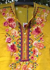 NWT Johnny Was XL Extra Large SABLE Embroidered Tunic Top BLOUSE SunSHINE YELLOW