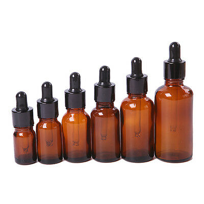 1 PCS 5-50ml Amber Glass Liquid Reagent Pipette Bottle with Glass Droppers New