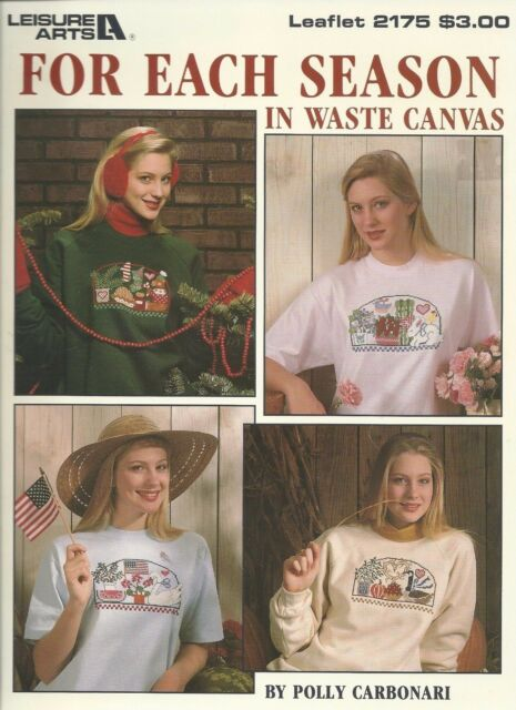 Leisure Arts For Each Season in Waste Canvas Vintage Cross Stitch Pattern