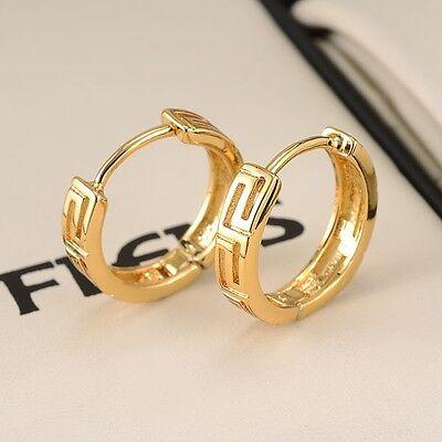 Charms 18k Yellow Gold Filled Women Earrings 14MM unique Hoop Huggie Jewelry