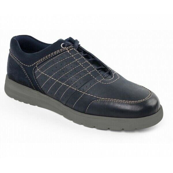 Padders RELAY Mens Casual Hidden Lace Up Leather Wide (G H) Classy Trainers Navy