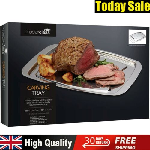 MasterClass Spiked Meat Carving Tray Stainless Steel Silver 38x26.5 in Gift Box