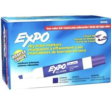 Lot 12 Expo 80008 Low Odor Dry Erase Markers Chisel Tip Purple 12 Count Nib