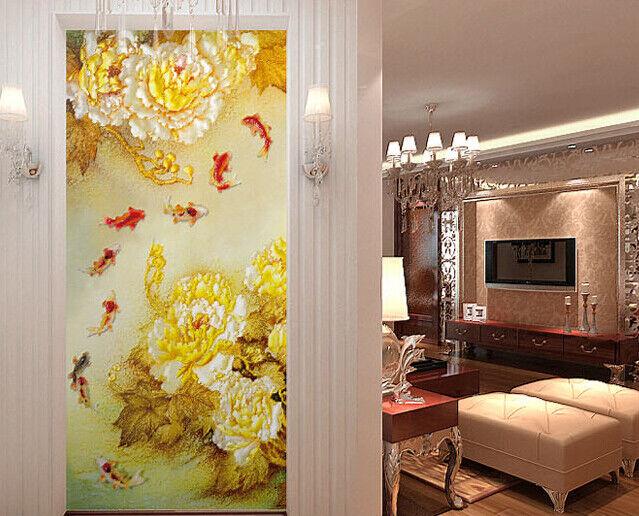 3D golden Peony Fish 7 Wall Paper Murals Wall Print Wall Wallpaper Mural AU Kyra