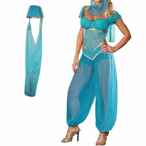 Women Lady Genie Princess Jasmine Arabian Fancy Dress Belly Dancer Costume Set