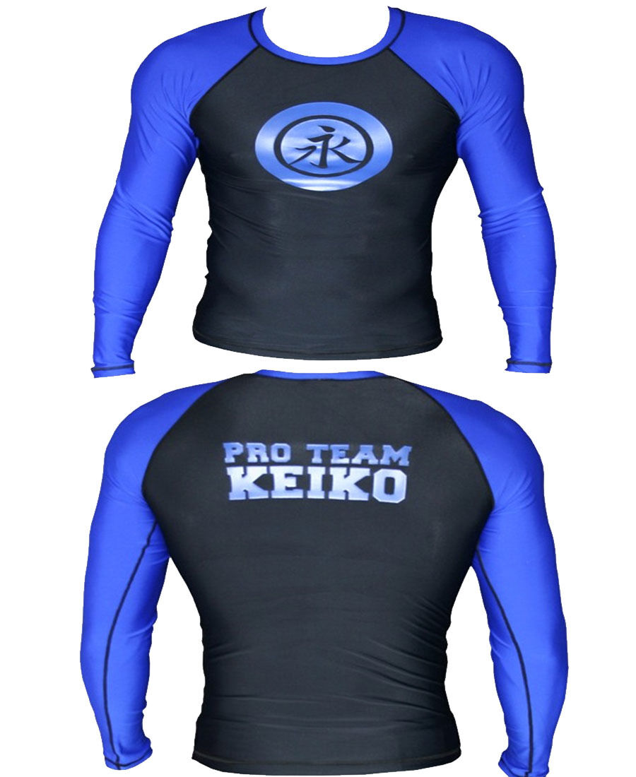 Super Sale NEW KEIKO RACA Long Sleeve MMA No Gi Rashguard blueE+FreeShip SIZE XL