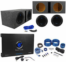"2) PLANET AUDIO AC10D 10"" 3000W Subwoofers+Vented Sub Box+2 Ch.Amplifier+Amp Kit"