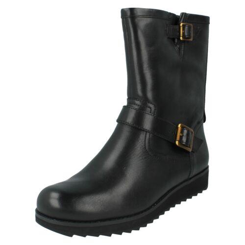 Zip Negro Ligero cuero Señoras de Boots Cuña bajo Minx Casual Comfy Clarks Trish qUw7ft