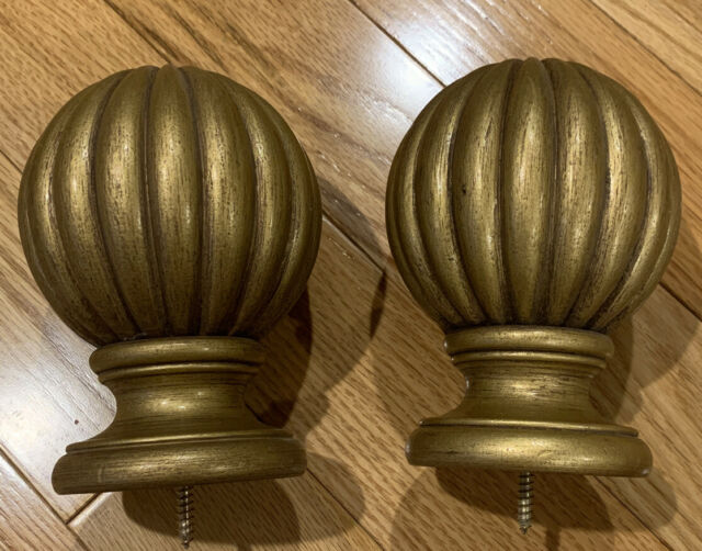Pair Drapery Curtain Rod Finials Carved Wood Round ...