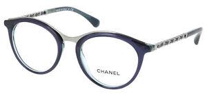 85d5225564 42 CHANEL 3349-Q c.1576 Round Blue Silver Chain Eyeglasses Frame 51 ...