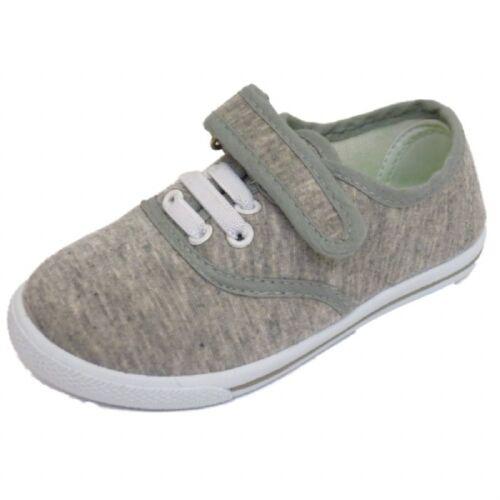 2PK Set Infant Kids Girls Boys Casual Plimsolls Grey Fabric Pumps Shoes Size 4-9