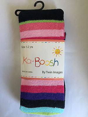 BNWT Ka-Boosh Brand Girls Age 1-2 Years Navy Blue Thick Footed Style Tights