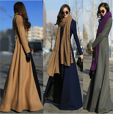 Winter Lady Trench Coat Slim Sexy Outwear Long Maxi Dress Unique Design Sz S-XXL