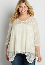 MAURICES 3 3x plus size CREAM OFF WHITE LACE layered TOP NWT maybe 4 4x!
