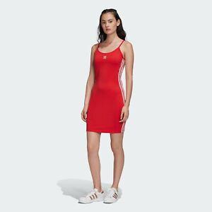 New Women S Adidas Originals Spaghetti Strap Dress Fm3280 Lush Red White Ebay