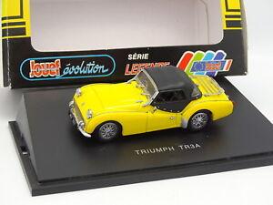 """Jouef Evolution 1/43 - Triumph TR3 A Jaune - France - État : Occasion : Objet ayant été utilisé. Consulter la description du vendeur pour avoir plus de détails sur les éventuelles imperfections. Commentaires du vendeur : """"Trs bon état + bote - 1/43 // Mint Condition with Box"""" - France"""