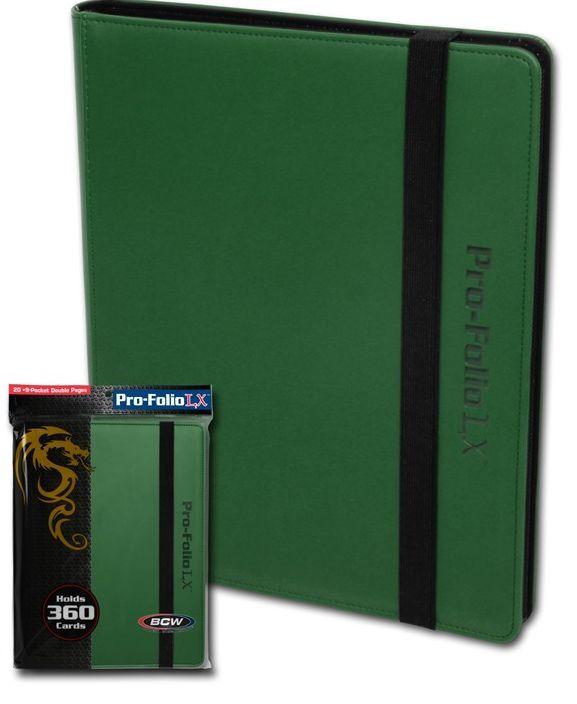 (6) bcw pf9lx-grn grüne pro blatt lx leatherette gaming trading card game binder