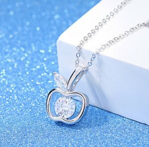 925 sterling silver crystal apple pendant necklace women jewelry image is loading 925 sterling silver crystal apple pendant necklace women mozeypictures Image collections