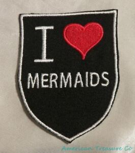 Embroidered-Retro-Vintage-Style-I-Love-Mermaids-Fantasy-Black-Patch-Iron-On-USA