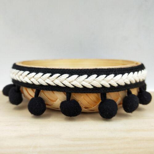 1m Pompoms Ball Tassel Braid Fringe Trim Ribbon DIY Sewing Crafts Accessories