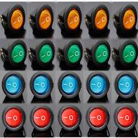 20 PCS LED Dot Light 12V Car Boat Auto Round ON/OFF Rocker Toggle SPST Switch