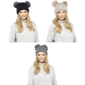 e8e73e0887b Women Ladies Winter Double Faux Fur Pom Pom Chunky Knit Beanie Ski ...