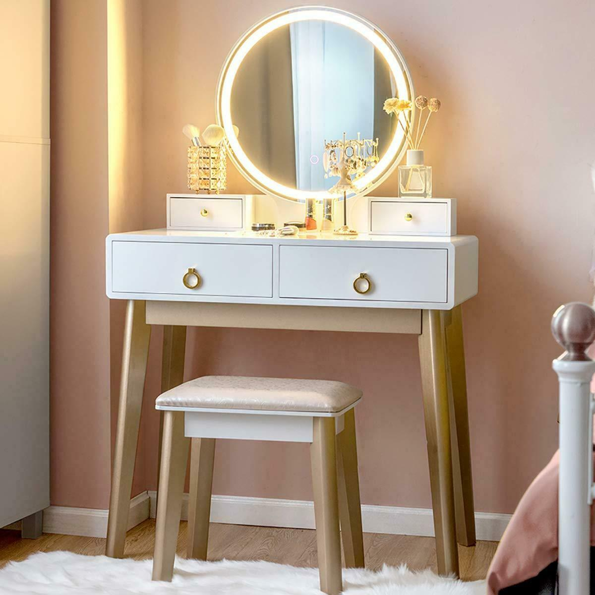 New Bedroom Makeup Vanity Set Dressing Table W Stool 3 Variable Touch Led Light For Sale Online