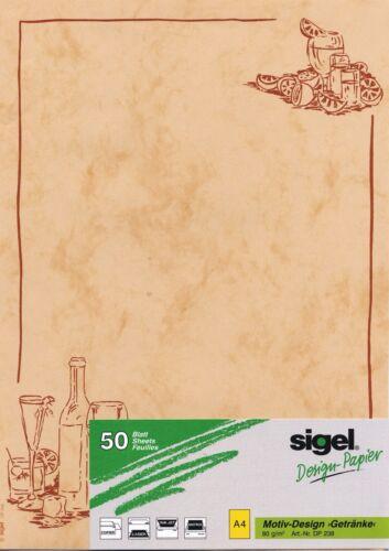 Sigel® Motiv-Designpapier Getränke, DIN A4,  80  g/m², DP238