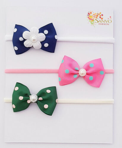3 x Headband Baby Girl Newborn Toddler Nylon HairBand For JoJo Wiggle Bow Lovers