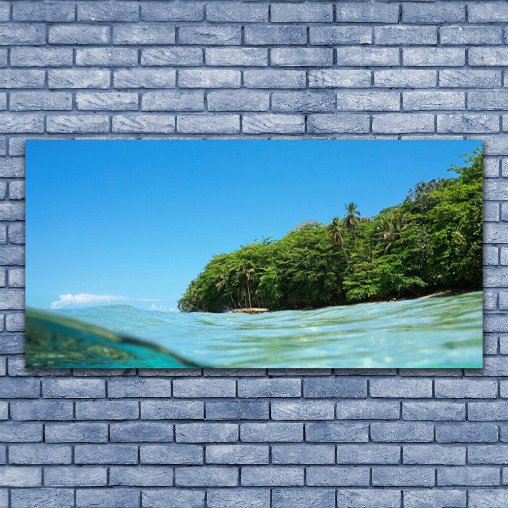 Print on Glass Wall art 140x70 Picture Image Sea Trees Landscape